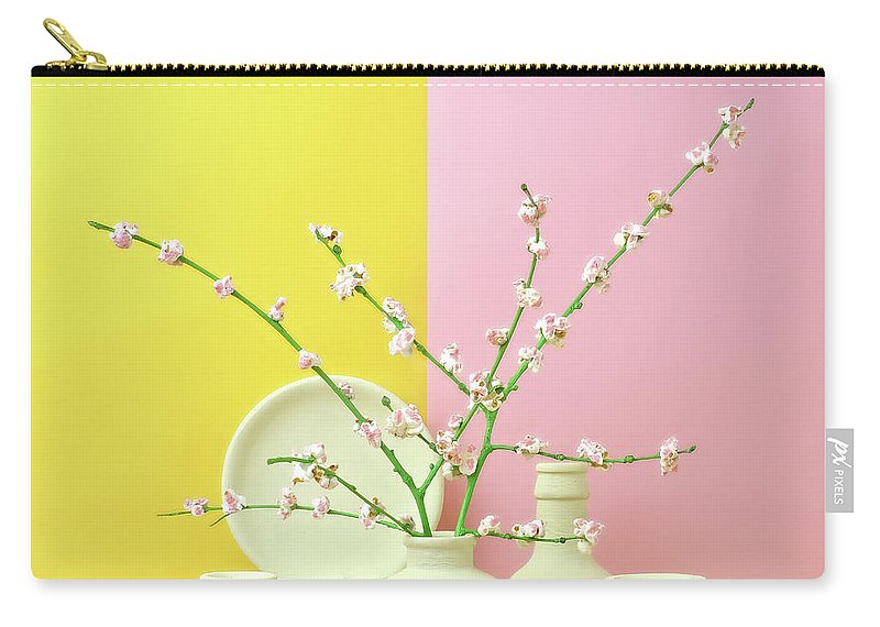 Out Of Context Carry-all Pouch featuring the photograph Cherry Blossom Popcorn In Monochromatic by Juj Winn