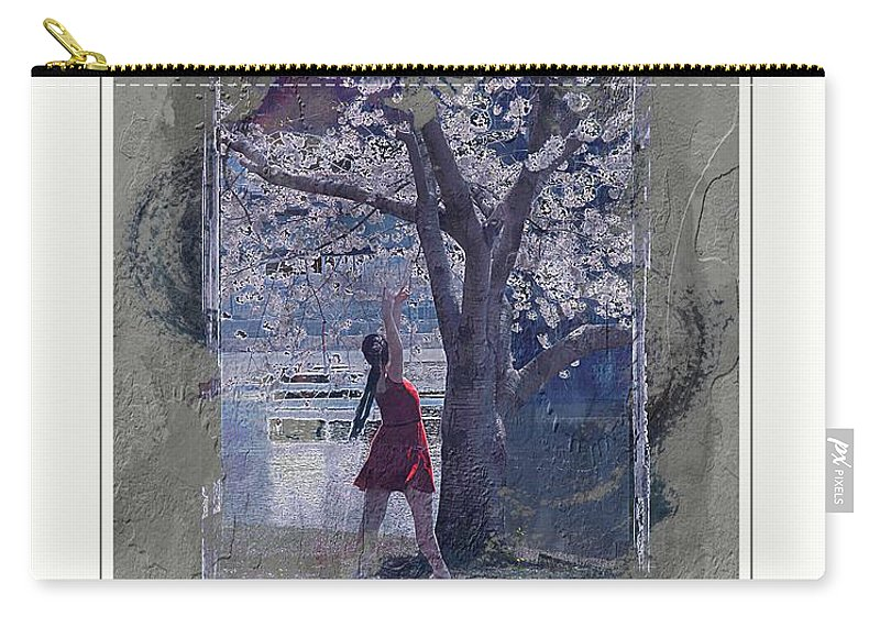 Cherry Blossoms Carry-all Pouch featuring the photograph Cherry Blossom Red Abstract by Alice Gipson