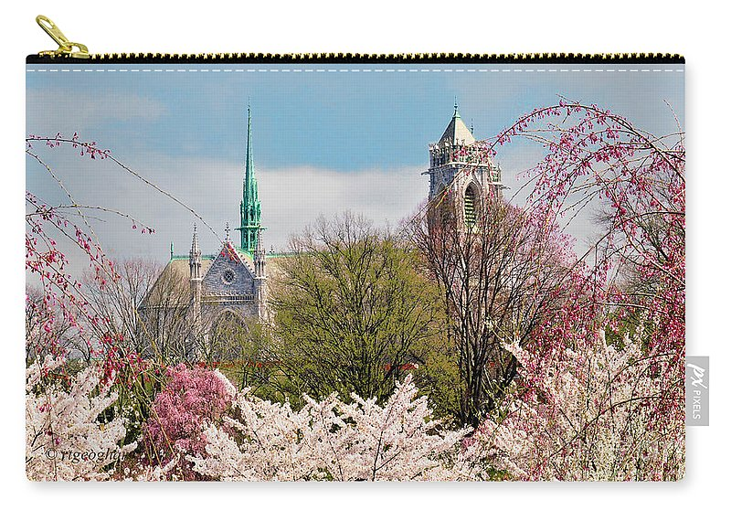 Cathedral Basilica Of The Sacred Heart Newark Nj Carry-all Pouch featuring the photograph Cherry Blossoms And The Sacred Heart by Regina Geoghan