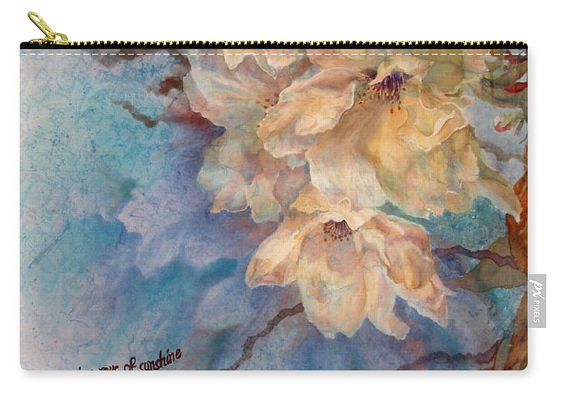 Flower Carry-all Pouch featuring the painting Cherry Blossoms N Lace by Deborah Younglao
