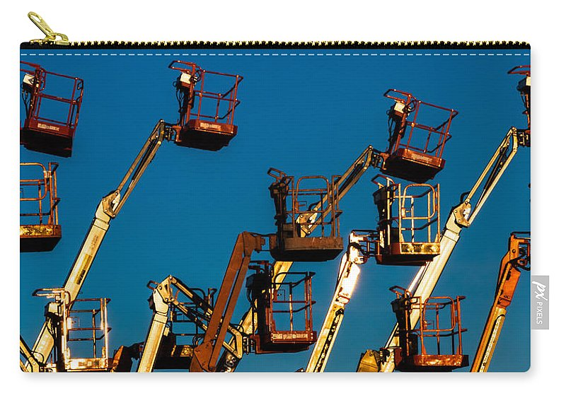 Boom Lifts Carry-all Pouch featuring the photograph Cherry Cherry Pickers by Ed Gleichman