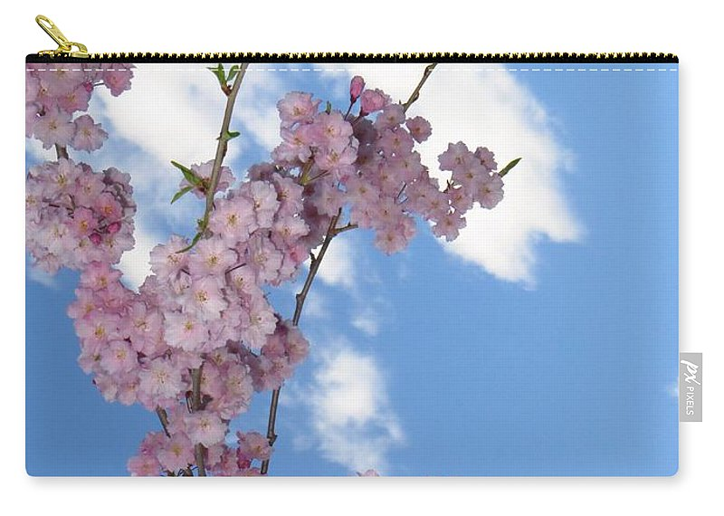 Flying Cherry Florals Carry-all Pouch featuring the photograph Cherry Floral Fountain by Sonali Gangane
