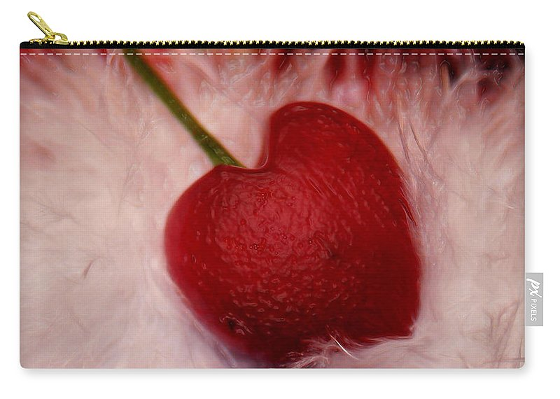 Heart Artred Cherry Heart Carry-all Pouch featuring the photograph Cherry Heart by Linda Sannuti