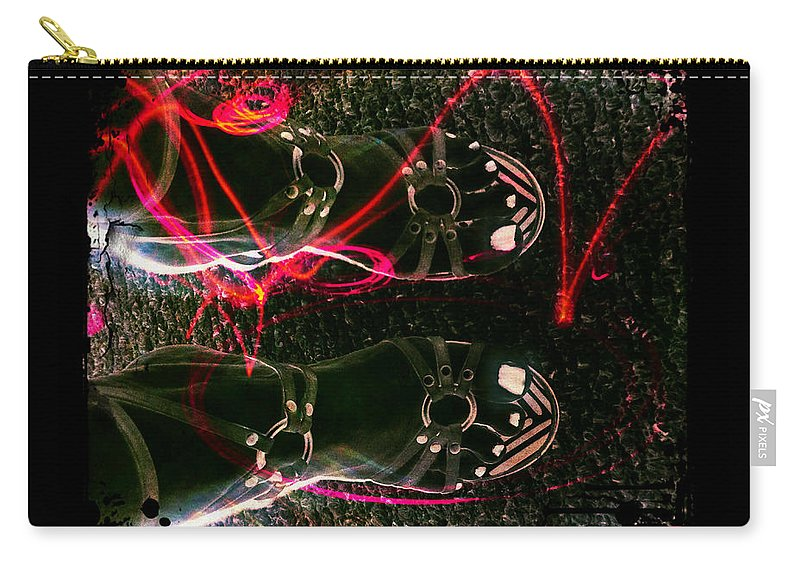 Neon Carry-all Pouch featuring the digital art Cherry Neon Shoes by Absinthe Art By Michelle LeAnn Scott