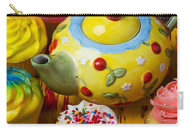 Teapot Carry-all Pouch featuring the photograph Cherry Teapot And Cupcakes by Garry Gay