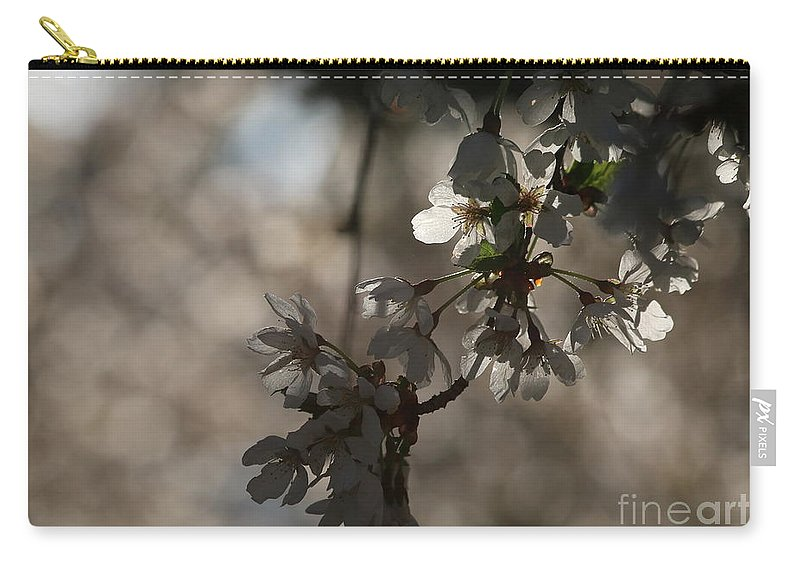 Cherry Carry-all Pouch featuring the photograph Cherry Tree Blossom Macro by Kenny Glotfelty