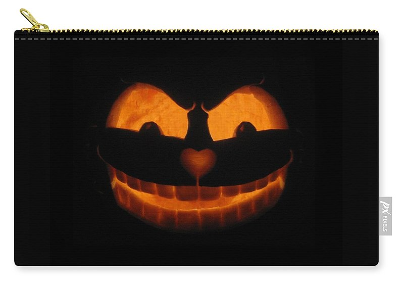 Pumpkin Carry-all Pouch featuring the sculpture Cheshire Cat by Shawn Dall