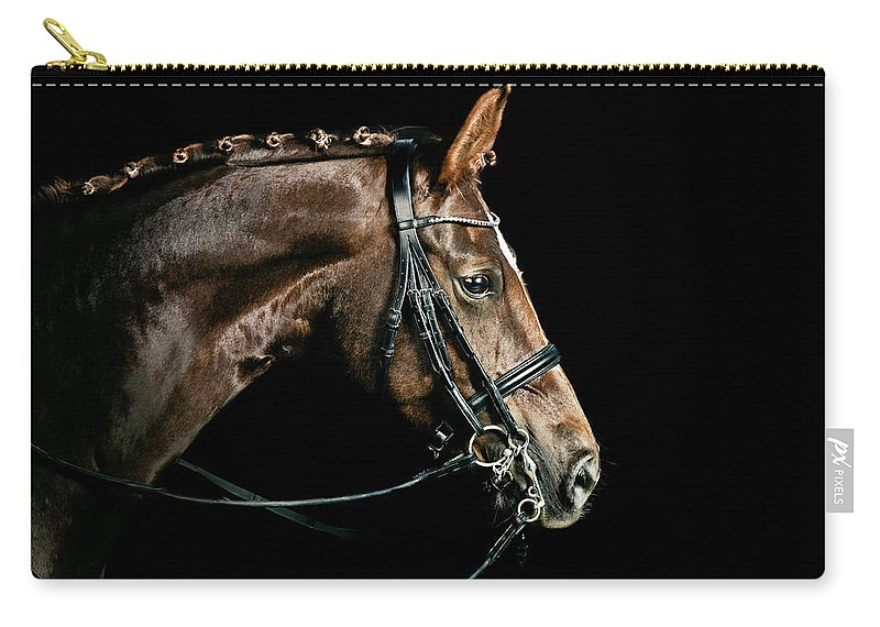 Horse Carry-all Pouch featuring the photograph Chestnut Dressage Horse Groomed For A by Anja Hild