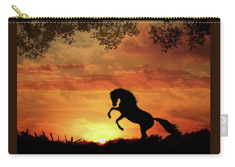 Equine Sunset Carry-all Pouch featuring the photograph Chestnut Sunset by Melinda Hughes-Berland