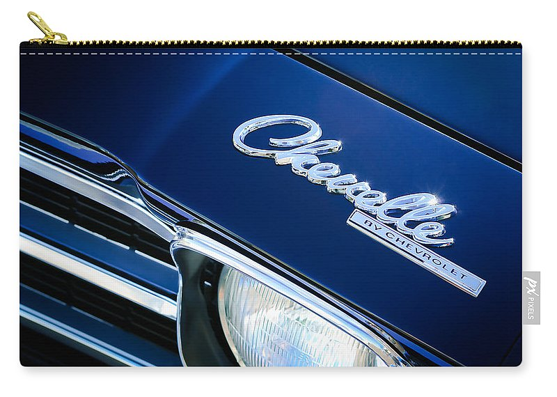 Chevrolet Chevelle Ss Hood Emblem Carry-all Pouch featuring the photograph Chevrolet Chevelle Ss Hood Emblem by Jill Reger