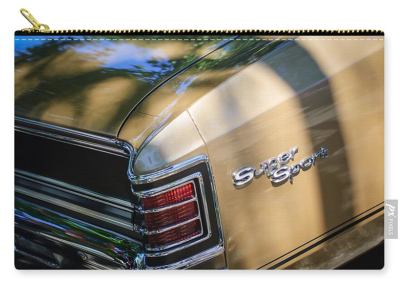 Chevrolet Chevelle Ss Taillight Emblems Carry-all Pouch featuring the photograph Chevrolet Chevelle Ss Taillight Emblems by Jill Reger