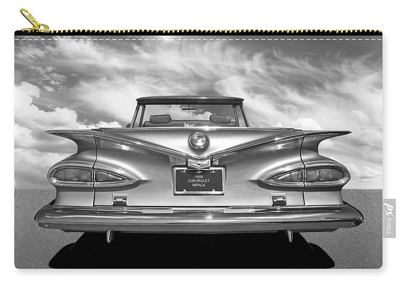 Chevrolet Impala Carry-all Pouch featuring the photograph Chevrolet Impala 1959 in Black and White by Gill Billington