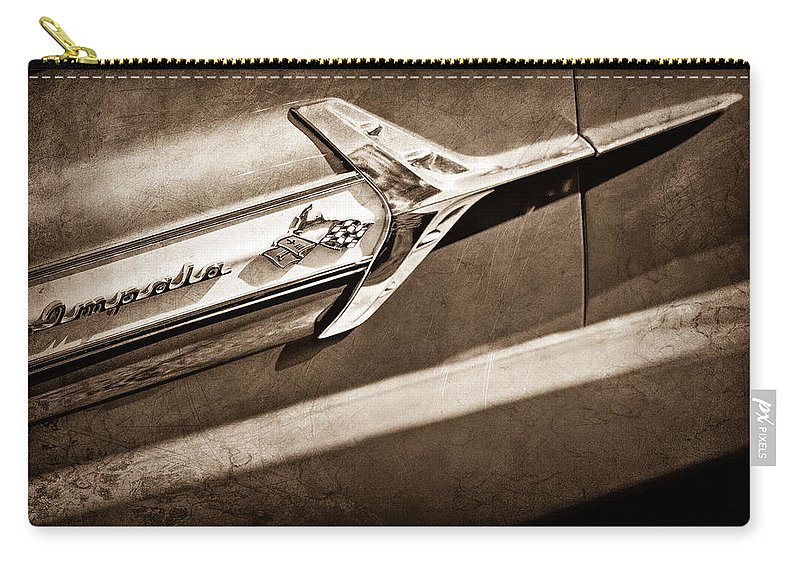 Chevrolet Impala Side Emblem Carry-all Pouch featuring the photograph Chevrolet Impala Side Emblem by Jill Reger