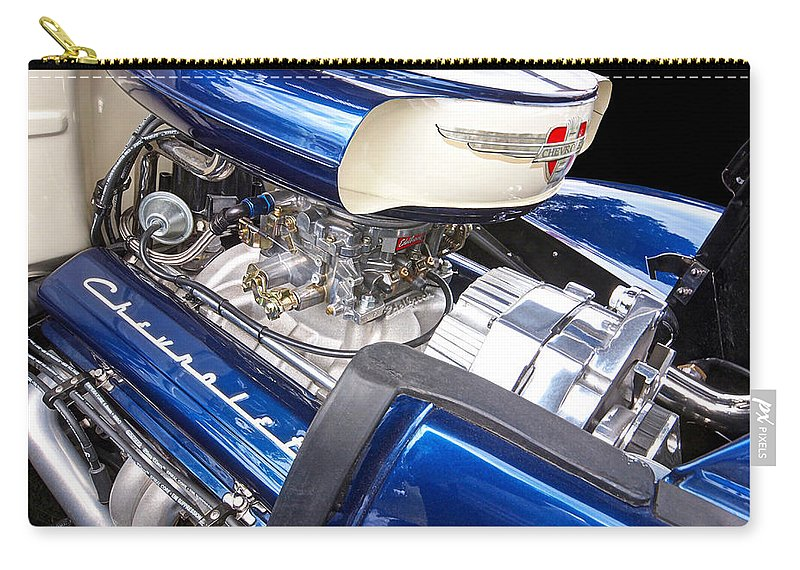 Hot Rod Carry-all Pouch featuring the photograph Chevy Hot Rod Engine by Gill Billington