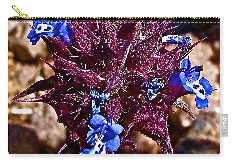 Blue Carry-all Pouch featuring the photograph Chia At Dante's View In Death Valley Np-ca by Ruth Hager