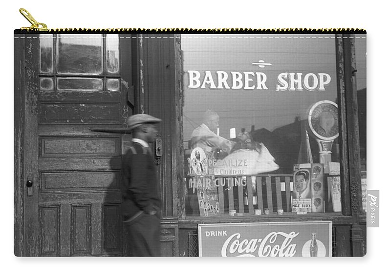1941 Carry-all Pouch featuring the photograph Chicago Barber Shop, 1941 by Granger