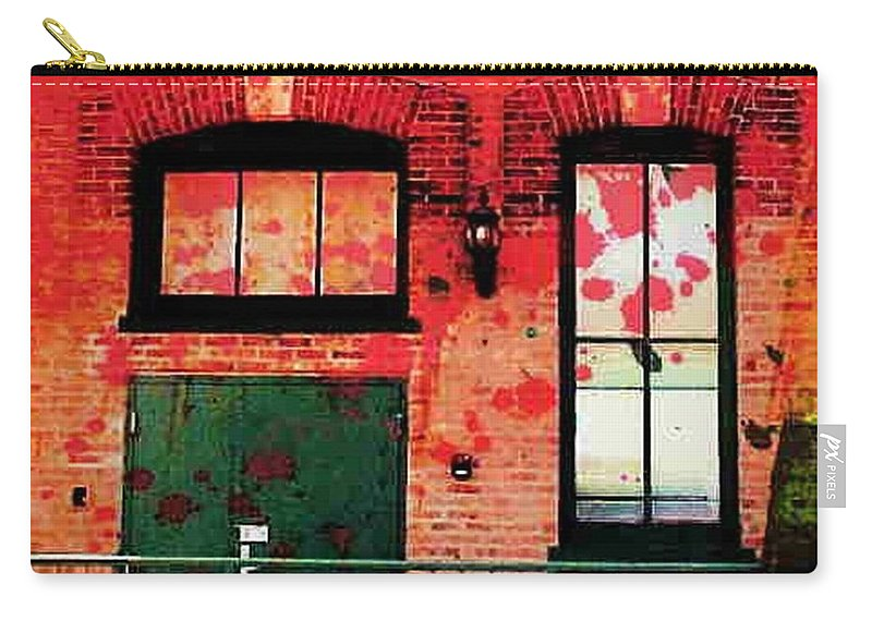 Chicago Carry-all Pouch featuring the digital art Chicago Brick Facade 21st. Century by Ellen Cannon