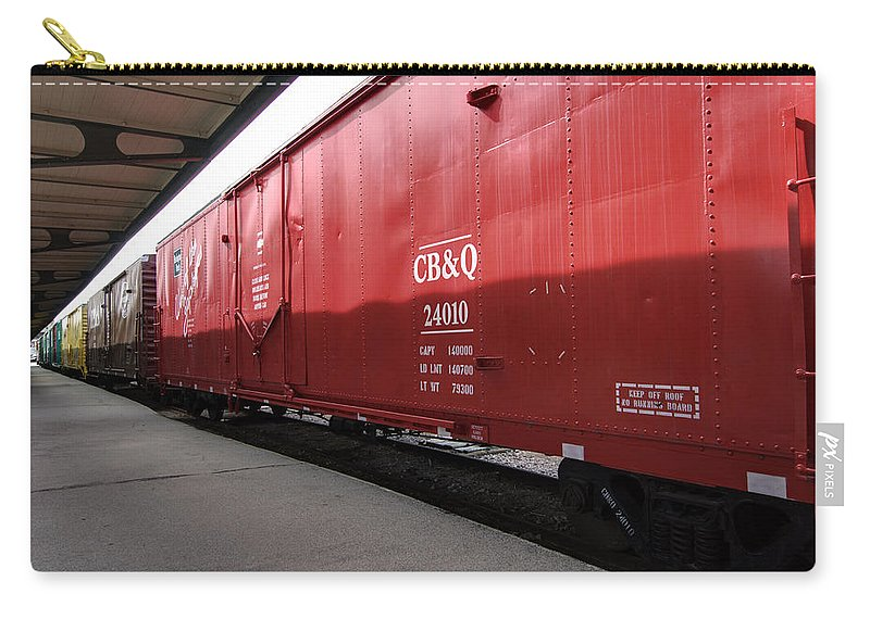 Chicago Burlington Quincy Carry-all Pouch featuring the photograph Chicago Burlington Quincy Freight Cars by Paul Cannon