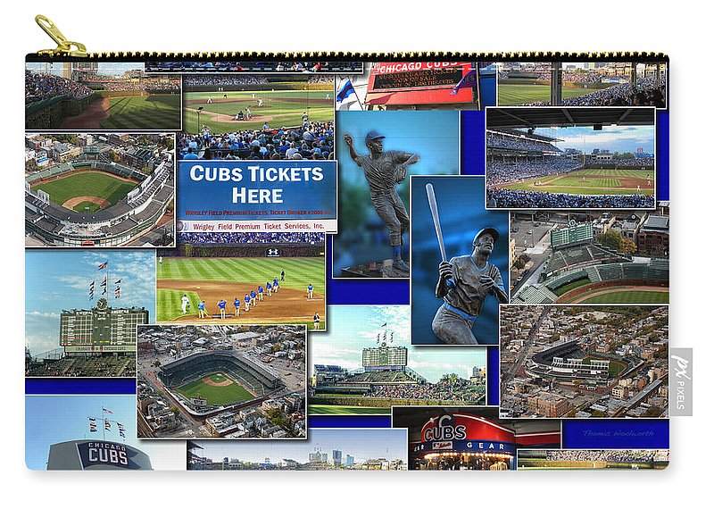 Collage Carry-all Pouch featuring the photograph Chicago Cubs Collage by Thomas Woolworth