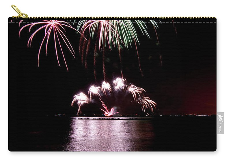 Lake Michigan Carry-all Pouch featuring the photograph Chicago Fireworks by 400tmax