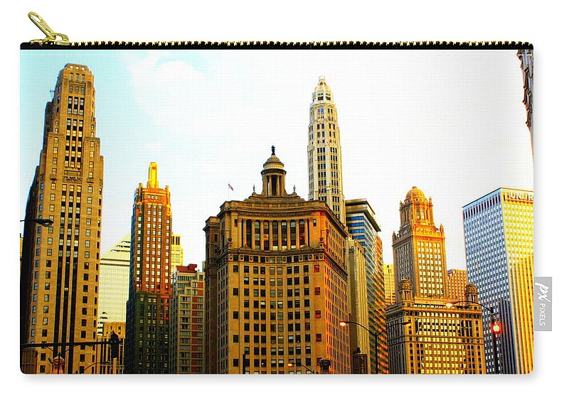 Apartment Carry-all Pouch featuring the photograph Chicago Glow by Yajhyara Maria