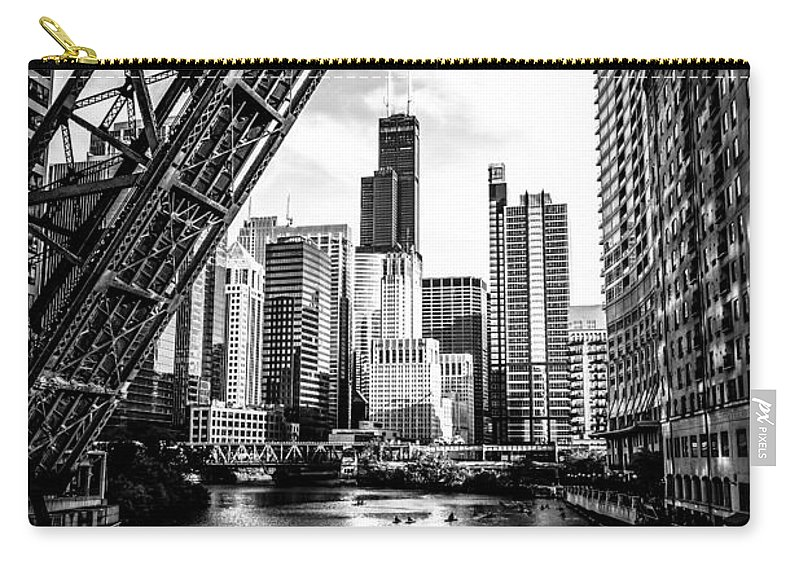 America Carry-all Pouch featuring the photograph Chicago Kinzie Street Bridge Black and White Picture by Paul Velgos