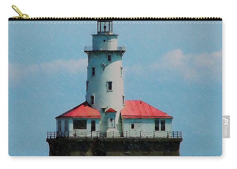 Landscape Carry-all Pouch featuring the digital art Chicago Lighthouse by Chris Flees