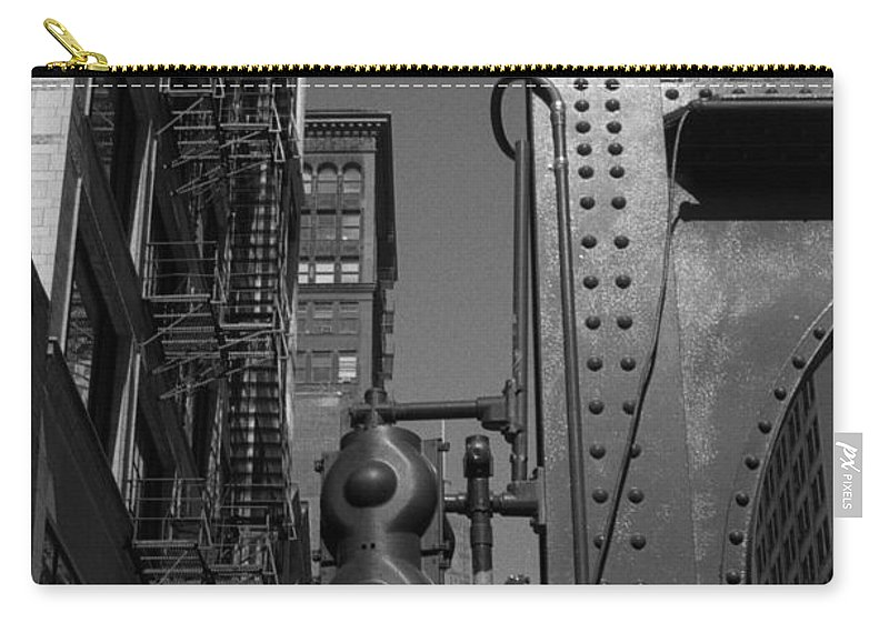 Black & White Film Carry-all Pouch featuring the photograph Chicago My Favorite City 4 by Verana Stark