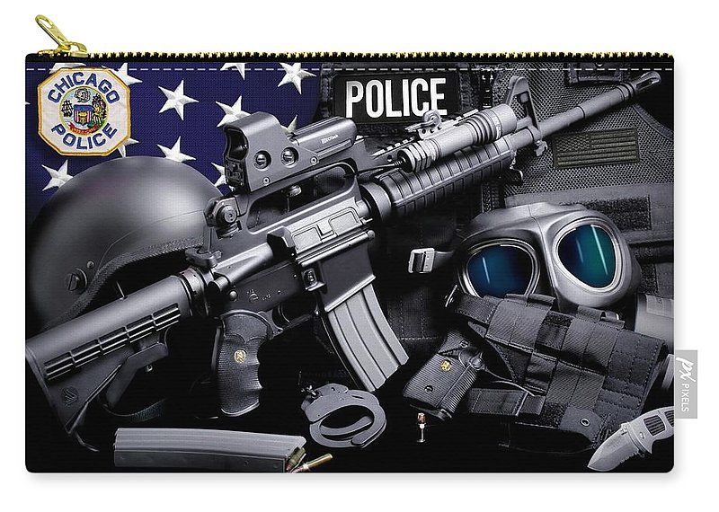 Chicago Police Carry-all Pouch featuring the photograph Chicago Police by Gary Yost