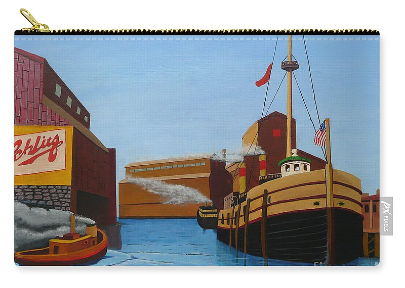 Chicago Carry-all Pouch featuring the painting Chicago Port by Anthony Dunphy