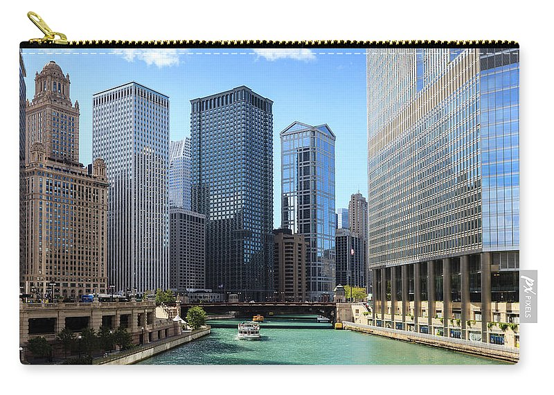 Chicago River Carry-all Pouch featuring the photograph Chicago River And Cityscape by Fraser Hall