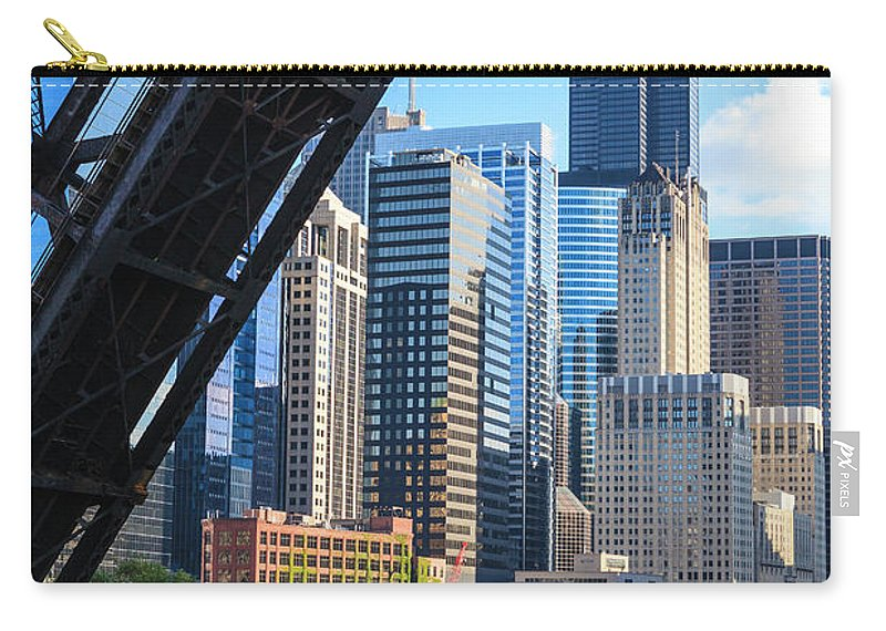 Chicago River Carry-all Pouch featuring the photograph Chicago River And Towers by Fraser Hall