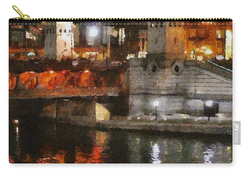 Bridge Carry-all Pouch featuring the painting Chicago River At Michigan Avenue by Jeffrey Kolker