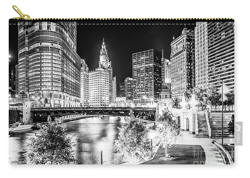 America Carry-all Pouch featuring the photograph Chicago River Buildings at Night in Black and White by Paul Velgos
