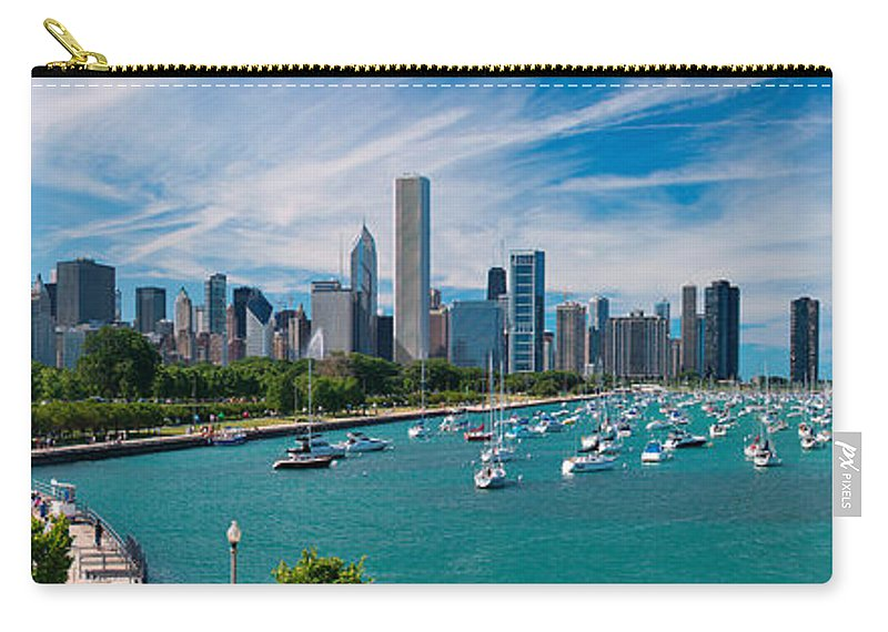 3scape Carry-all Pouch featuring the photograph Chicago Skyline Daytime Panoramic by Adam Romanowicz
