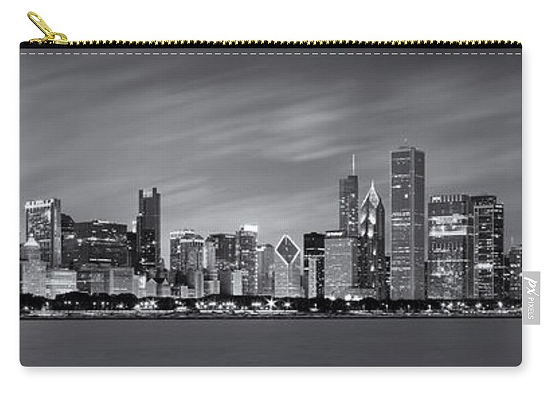 3scape Carry-all Pouch featuring the photograph Chicago Skyline at Night Black and White Panoramic by Adam Romanowicz