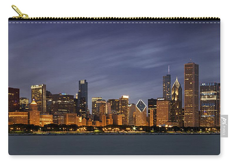 3scape Carry-all Pouch featuring the photograph Chicago Skyline At Night Color Panoramic by Adam Romanowicz