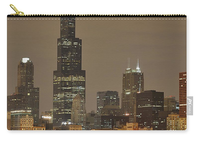 Chicago Skyline Carry-all Pouch featuring the photograph Chicago Skyline At Night by Sebastian Musial