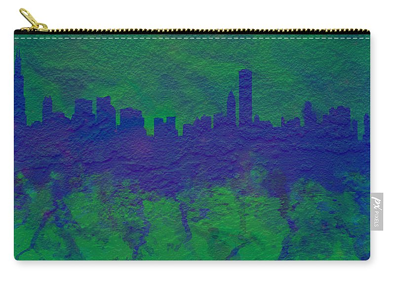 Brick Carry-all Pouch featuring the digital art Chicago Skyline Brick Wall Mural 2 by Brian Reaves