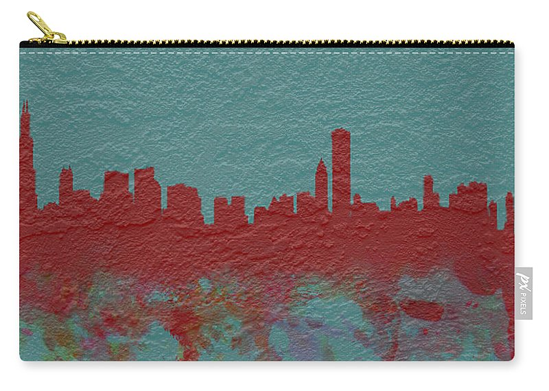 Brick Carry-all Pouch featuring the digital art Chicago Skyline Brick Wall Mural by Brian Reaves