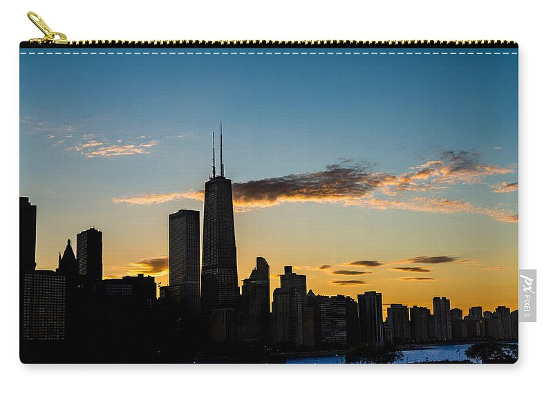 Chicago Carry-all Pouch featuring the photograph Chicago Skyline Silhouette by Steve Gadomski