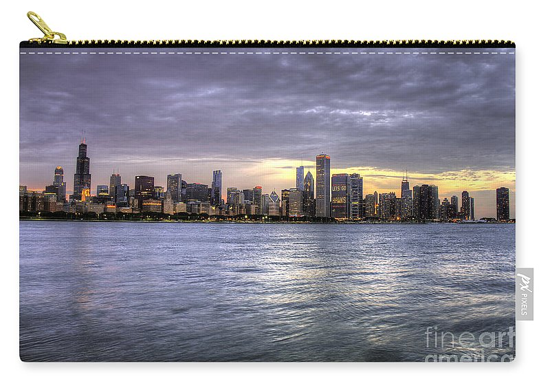 Canon Carry-all Pouch featuring the photograph Chicago Skyline Sunset by Steven K Sembach