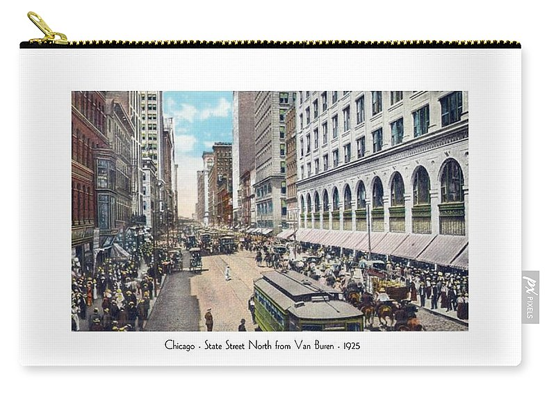 Detroit Carry-all Pouch featuring the digital art Chicago - State Street North From Van Buren - 1925 by John Madison