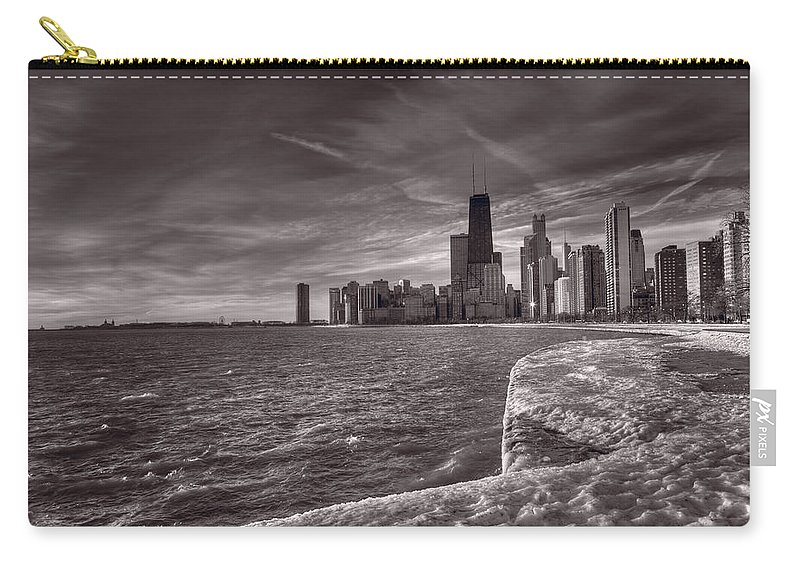 Chicago Carry-all Pouch featuring the photograph Chicago Sunrise Bw by Steve Gadomski
