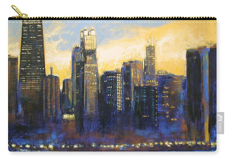 Chicago Skyline Carry-all Pouch featuring the painting Chicago Sunset Looking South by Joseph Catanzaro