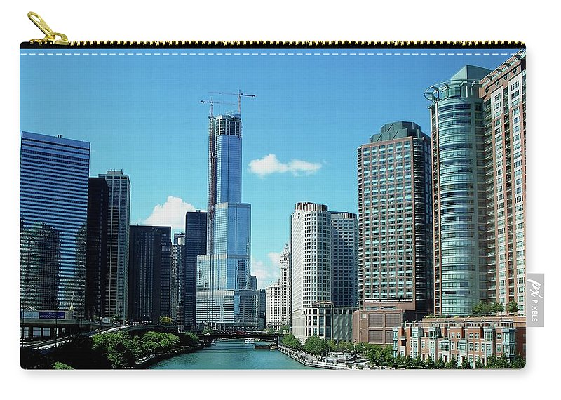 Cities Carry-all Pouch featuring the photograph Chicago Trump Tower Under Construction by Thomas Woolworth