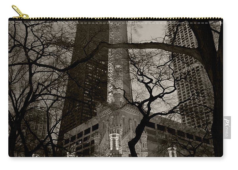 Ave Carry-all Pouch featuring the photograph Chicago Water Tower B W by Steve Gadomski