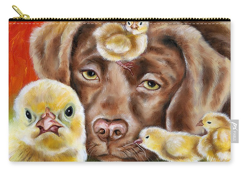 Funny Carry-all Pouch featuring the painting Chick Sitting Afternoon by Hiroko Sakai
