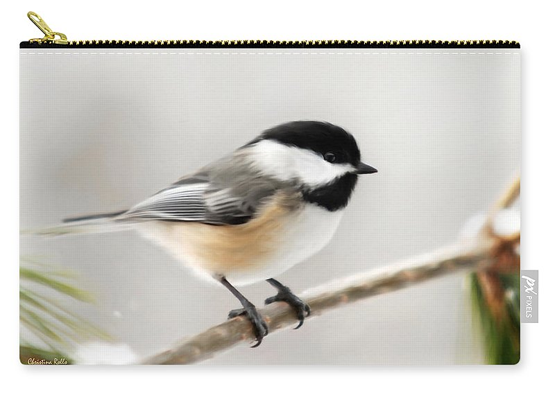 Chickadee Carry-all Pouch featuring the mixed media Chickadee by Christina Rollo