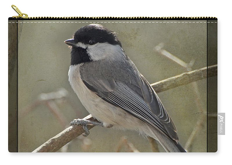 Nature Carry-all Pouch featuring the photograph Chickadee Early Bird II by Debbie Portwood
